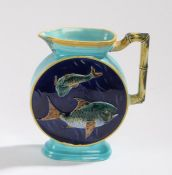 Joseph Holdcroft Aesthetic Movement majolica jug with moulded bamboo effect handle, the turquoise