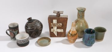 Mixed studio pottery to include, a Bernard Rooke style vase, pottery baluster vase with brown and