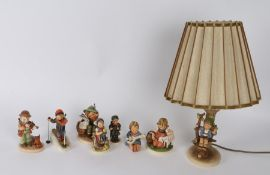 Collection of seven Goebel Hummel figures, to include one mounted on a lamp, Hummel style figure