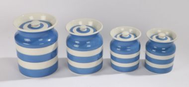 Four T.G.Green Cornish Kitchen ware storage jars, with banded blue and white decoration, the largest