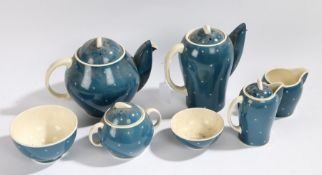 Susie Cooper part tea and coffee set, compromising of a teapot, coffee pot, two bowls, two jugs, and
