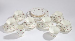 Adderley bone china tea set, the roses on a white ground with gilt edging, comprising of six each