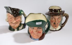 Three large Royal Doulton character jugs, 'Toby Philpots', 'Robin Hood' and 'Izaak Walton', (3)