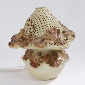Bernard Rooke pottery table lamp and shade, having pierced shade and mounted with lily pads and