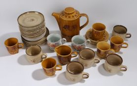 A Pallisy Taurus coffee service, together with Denby plates, saucers, cups, (Qty)