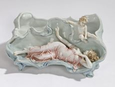 Art Nouveau porcelain planter, the shaped dish with a raised depiction of a reclining lady and