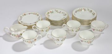 Wedgwood Mirabelle pattern tea service, consisting of six tea cups and saucers, six bowls, six
