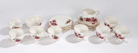 Colclough bone china part tea service decorated with roses and with gilt borders, consisting of