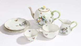 Herend of Hungary tea set, to include a teapot decorated with birds and butterflies, together with