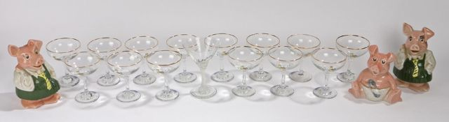 Set of fourteen Babycham glasses, together with a twisted stem Babycham glass, and three Wade