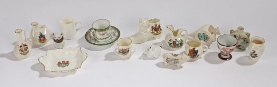 Collection of miniature crested china, to include urns, bellows, boots etc., (qty)