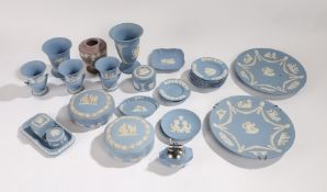 Collection of Wedgwood Jasperware, to include vases, ashtrays, table lighter, a box and cover of