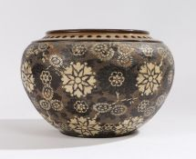 Doulton Lambeth Silicon ware jardeniere, with pierced rim and brown and white floral impressed