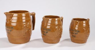 Set of three early 20th Century graduated jugs each with the impressed text The Taylors, Chapel