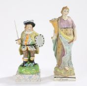 Early 19th Century pearlware Staffordshire Figure of James Quinn as Falstaff, standing with a