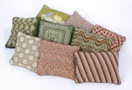 A collection of cushions. With various geometric designs, (9)