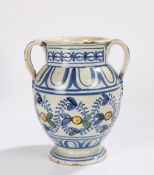 18th Century Delft twin handled vase, the vase with geometric design and loped handles above the