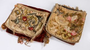 Two 19th Century crewel work decorated bags, the red and blue velvet bags with foliate embroidered
