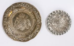 Two Portuguese silver dishes, one with central double eagle crest surrounded by a scroll and foliate