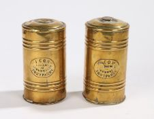 Pair of 19th Century brass Welsh Tonypandy canisters, with the name plate to each J Cox, General
