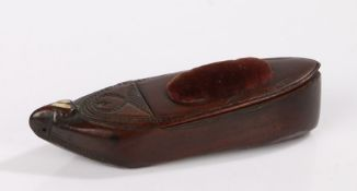 Late 18th/ early 19th Century novelty shoe form pin cushion and needle case, the toe with heart form
