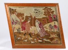 William IV embroidery, circa 1824, depicting The Queen of Sheba in a landscape with animals and