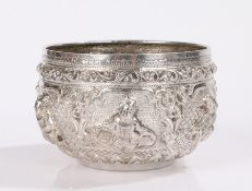 19th Century Indian/Burmese silver bowl, with embossed deity decoration, 3.8oz