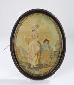 Early 19th Century oval silk work picture, of a lavender seller and child, 22cm x 29cm. Provenance