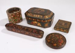 Persian papier mache items, to include a pen box, a rectangular box with canted corners, a