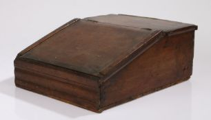 Early 19th Century oak country made till, the long sloping fall with a moulded front, 31cm wide,