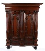 Rare 17th Century Dutch oak Keeftkast cupboard, an unusually small size, circa 1640, the deep and