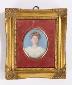 19th Century portrait miniature by Etta Middleton, depicting a young lady wearing a white dress
