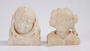 Pair of 19th Century alabaster carvings, depicting a figure with a flower and a figure wearing a