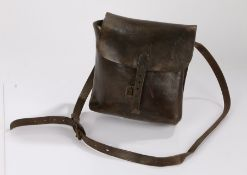 19th Century leather satchel bag, with a flap and buckle front, 25cm wide