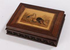 19th Century Italian desk weight, the marquetry inlaid top depicting the fox and the stork from