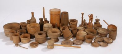 Collection of late 19th Century Swiss miniature treen containers and tools, to include dishes,