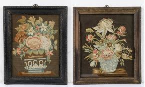 Two early 18th Century silk embroideries, circa 1715, both with a jardinière rested on a table top