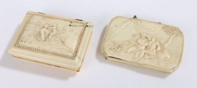 Two 18th Century ivory snuffboxes, the first Louis XV example with lid depicting a courting