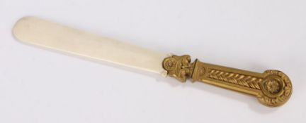 French 19th Century Neoclassical page turner, the gilt bronze handle with a rope twist, flower and