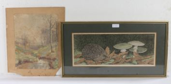 Pictures, to include Peter Merrin, Hedgehog, limited edition print, 21/120, a watercolour of a lane,