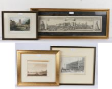 Four various prints and engravings to include, 'Southside of Windsor Castle', 'Dedham Near