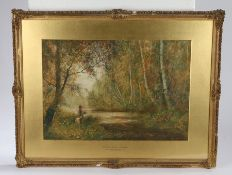 Fred Hines (1875-1928), English School, 'Burnham Beeches, Springtime', signed watercolour and