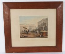 R.G.Reeve, coloured engraving 'Scene in Bombay', contained in oak and glazed frame, image size