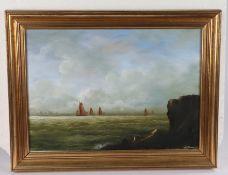 20th Century school, Sailing, indistinctly signed oil on canvas, 42cm x 30cm