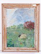 Jennifer Raison (Contemporary) Sheep in a field, monogram acrylic on canvas, 24cm x 34cm