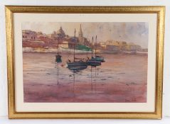 Dennis Nash, Continental School, moored river boats with buildings to the background, signed