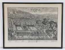 Collection of pictures, to include a watercolour of rough seas, a print of a city, map of Italy, map
