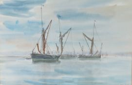 Arthur Butler (English School), study of moored sailing barges, signed watercolour, image size