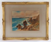 W H Dyer, English School, 'Bedruthan Steps', signed watercolour, contained within a gilt and