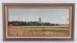 British 20th Century School, Church viewed from a field, indistinctly signed, 47cm x 22cm